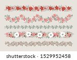 set of christmas floral borders ... | Shutterstock .eps vector #1529952458