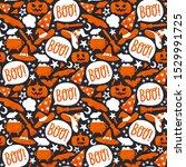 cute halloween seamless pattern ... | Shutterstock .eps vector #1529991725