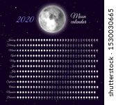 planner of lunar cycles at 2020 ... | Shutterstock .eps vector #1530030665