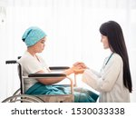 Small photo of Doctor holding patient's hand together over white background,helping hand and encouragement together with kindness and liberality.
