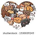 Stock vector cute vector cats in heart funny cartoon kittens vector art heart i love cats love 1530039245