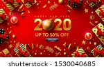 happy new years 2020 red poster ... | Shutterstock .eps vector #1530040685