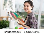 portrait of a happy artist with ... | Shutterstock . vector #153008348