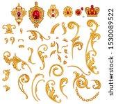 Set Of Golden Jewelry Scroll...
