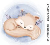 foxy baby sleep hugging tail | Shutterstock .eps vector #1530168425