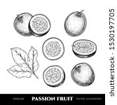 vector passion fruit hand drawn ... | Shutterstock .eps vector #1530197705