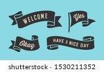 ribbon banner. set of black... | Shutterstock . vector #1530211352