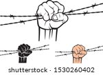hand holding barb wire vector... | Shutterstock .eps vector #1530260402