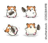Cute Happy Hamster With Orange...