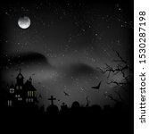 Halloween Castle At Night Sky...