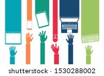 vector set of hand icons and... | Shutterstock .eps vector #1530288002