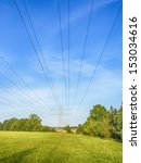 power cable and power pole on a ... | Shutterstock . vector #153034616