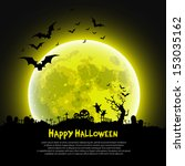 happy halloween message design... | Shutterstock .eps vector #153035162