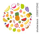 fruits round shape vector... | Shutterstock .eps vector #1530372542