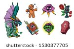 halloween set with traditional... | Shutterstock .eps vector #1530377705