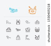 bags icons set. kitten heel...