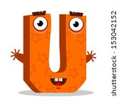Letter U Monster  Vector...