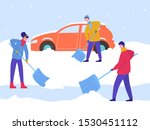 winter man and woman clean car... | Shutterstock .eps vector #1530451112