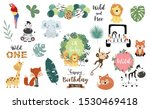 safari object set with fox... | Shutterstock .eps vector #1530469418