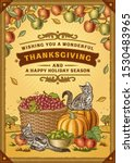 vintage thanksgiving greeting... | Shutterstock .eps vector #1530483965