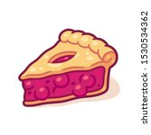 cute cartoon cherry pie drawing.... | Shutterstock .eps vector #1530534362