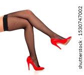 beautiful female legs in black... | Shutterstock . vector #1530747002