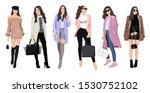 set of women dressed in stylish ... | Shutterstock .eps vector #1530752102