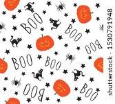 spider  cat and handwritten boo ...   Shutterstock .eps vector #1530791948