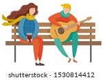 couple sitting on wooden bench... | Shutterstock .eps vector #1530814412
