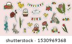 happy easter stickers set. hand ... | Shutterstock .eps vector #1530969368