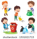 little children cleaning and... | Shutterstock .eps vector #1531021715