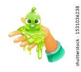 funny cartoon green slimy...   Shutterstock .eps vector #1531036238