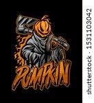 the pumpkin reaper mascot logo... | Shutterstock .eps vector #1531103042
