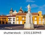 Plaza de La Aduana Centro Historico aera of Cartagena de los indias Bolivar in Colombia South America