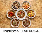 Small photo of Yum, Spicy salad, spicy Thai food, mixed on the table,Collection set of Spicy salad (Yum Thai style) Traditional spicy -hot seafood, egg Thai food. Thai cuisine delicious food popular