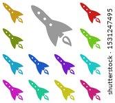 rocket multi color icon. simple ...