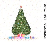 christmas tree with gifts and... | Shutterstock .eps vector #1531296605