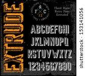 handmade retro font. 3d... | Shutterstock .eps vector #153141056