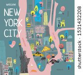 Color Stylized Tourist Map Of...