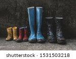 four pairs of muddy rain boots