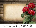 Stock photo card for invitation or congratulation with red rose in vintage style 153155162