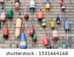 Lobster Buoys Hanging From A...