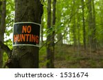 No Hunting Sign On Tree In Woods