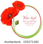Red Poppies Floral Round Frame...