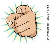 vintage pop art pointing hand  | Shutterstock .eps vector #153174755