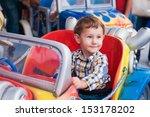 little boy riding a car in...   Shutterstock . vector #153178202