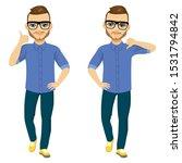 standing man doing thumbs up or ... | Shutterstock .eps vector #1531794842