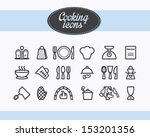 set of outlined cooking icons