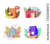 school lunch boxes set. healthy ... | Shutterstock .eps vector #1532038472