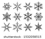 set snowflakes in doodle style... | Shutterstock .eps vector #1532058515